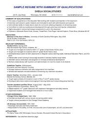 Resume Qualifications Examples Cover Letter Examples Of Summaries On Resumes Examples Of