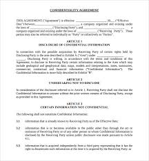 sample standard confidentiality agreement 7 free