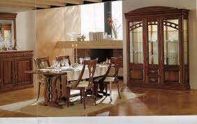 dining rooms wall curio cabinet light wood floor brown chair