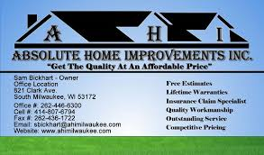 business cards milwaukee absolute home improvements inc 414 755 3528 717 clark ave