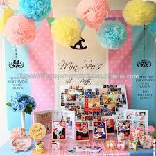 Yellow Pom Pom Flowers - 20cm 25cm 30cm baby blue pink yellow rainbow pastel tissue paper