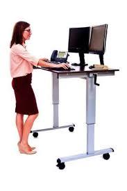 Stand Up Computer Desk Adjustable C Standup Cf48 Dw 48 Sit To Stand Crank Height Adjustable