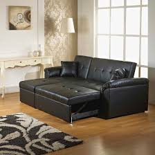 Leather Corner Sofa Beds by Crystal Black Bonded Leather Corner Sofa Bed 22518