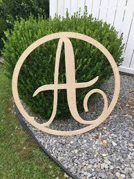 36 inch wooden circle single monogram letter wooden monogram