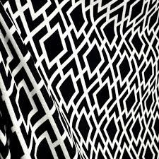 Geometric Drapery Fabric Teva Noir Black White Diamond Geometric Trellis Fabric