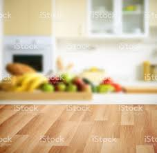 Kitchen Background Wooden Background And Defocused Kitchen Background Stock Photo
