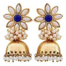jhumki earring buy the jewelbox flower 18k gold plated blue pearl jhumki earring