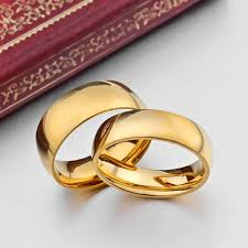 golden gold rings images Smooth ring marries gold color titanium steel women men golden jpg