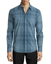 modern fit check sport shirt stone blue men u0027s size xx large