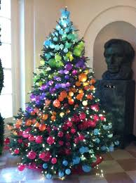 tree with multicolored ornaments in diagonal stripes ombré