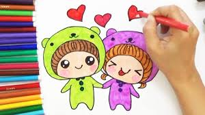 how to draw cute cartoon couple for kids d4k youtube