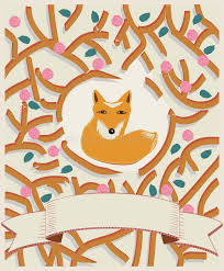 fox ribbon fox in a forest card design stock vector image 39502375