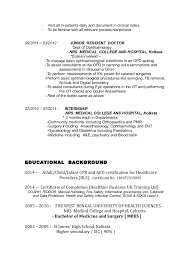 Medical Doctor Resume Example by Example Of Junior Doctor Cv