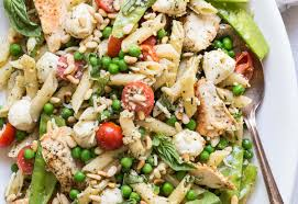 pesto pasta chicken salad with peas and mozzarella foodness gracious
