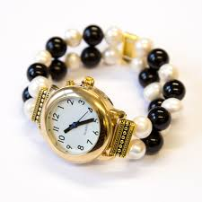 onyx pearl bracelet images Talking watch with onyx and pearl bracelet strap jpg