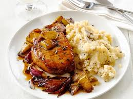 pork chops with apples and garlic smashed potatoes recipe food