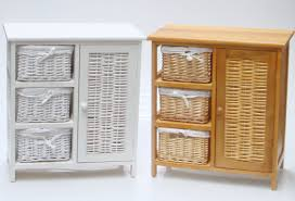 white wicker storage cabinet with unit 4 basket 2 drawer for and 7