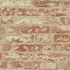 Peel And Stick Removable Wallpaper by Roommates 28 18 Sq Ft Stuccoed Red Brick Peel And Stick Wall