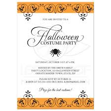 Halloween Picture Borders by Halloween Costume Party Invitation With Ornate Black And Orange