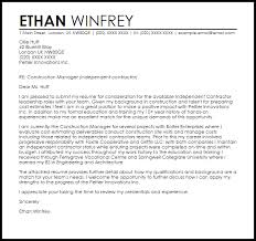 independent contractor cover letter sample livecareer