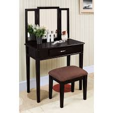 Black And Silver Bedroom Furniture by Minimalist Black Solid Wood Make Up Table With Rectangular Three