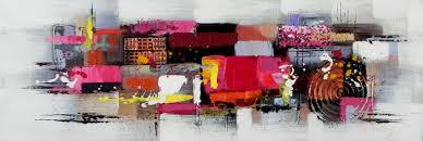 Tableau Triptyque Contemporain by Tableau Peint Panoramique Gris Effets Framboises Et Noirs