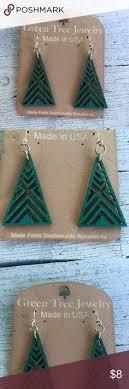 green tree earrings bonsai tree earrings laser cut jewelry monkey