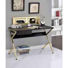acme furniture acme bolles desk black and gold 92332 the home depot