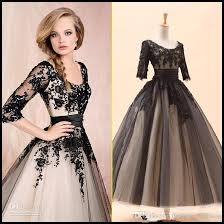 2016 new women white black party prom dresses with 3 4long sleeve