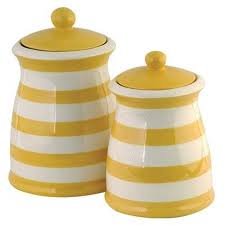 yellow and white striped canister set copper kitchen sets with