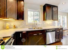 modern luxury kitchen modern luxury new dark brown and white kitchen stock image