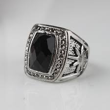 aliexpress buy mens rings black precious stones real square black silver plated carve sun patterns rings alloy