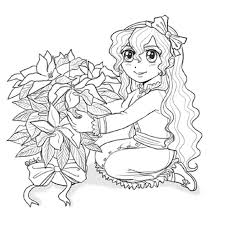poinsettia coloring pages lizzy poinsettia anime sketch to color