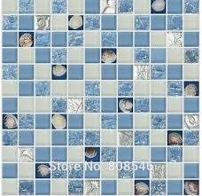 carrelage en verre pour cuisine ciel bleu couleur cristal en verre mixte mer shell mosaïque pour
