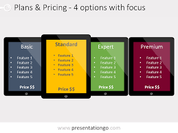 price plan design 4 pricing plans powerpoint template with recommandation