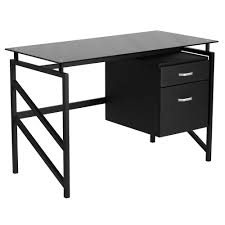 White X Desk by Flash Furniture Nan Wk 036 Gg Black Glass Desk With 2 Drawer