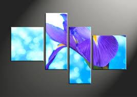 4 piece blue purple lily floral multi panel canvas