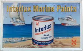 interlux marine paints self framed embossed tin sign
