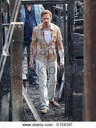 ryan gosling and co star russell crowe on the set of their new