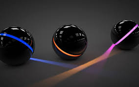 3d black balls with lights wallpaper 39630