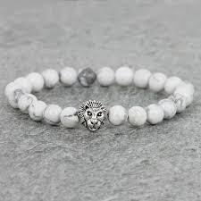 white bead bracelet images 8mm natural white howlite stone beads bracelet antique color lion jpg