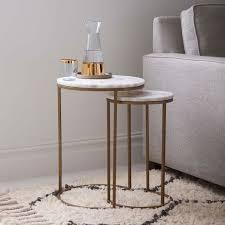 Antique Side Tables For Living Room West Elm Marble Nesting Side Table Set Of 2 Antique