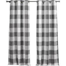 Grey Plaid Curtains Grey Buffalo Check Curtains Wayfair