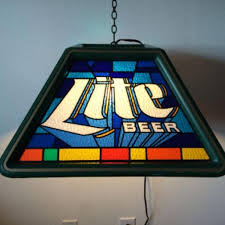 best miller lite pool table bar light faux stained glass 20
