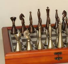 art deco chess set solid brass chess pieces storage board