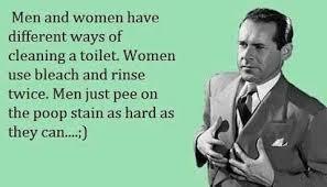 Men Meme - how men attempt to clean the toilet ecard meme