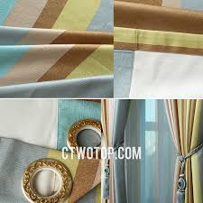 chic funky bedroom teal brown gray and olive green striped curtains