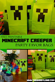 minecraft goody bags free printable minecraft creeper favor bags print these at home