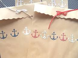 Nautical Themed Ribbon - the anchors look babyish here but here are your kraft paper bags