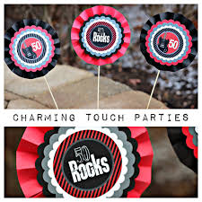 Rock And Roll Party Decorations 50 Rocks Decoration 50th Birthday Centerpiece Centerpiece Sticks